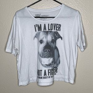 "F21 ""I'm a Lover, Not a Fighter Crop Top Sz S"